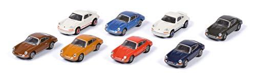 Schuco Porsche 911, 8-er Set, bestehend aus 6x 911 S & 2x Carrera 2.7 RS, Ladegut, Modellauto, 1:87, mehrfarbig