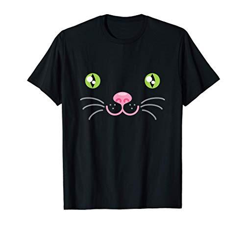 Divertido lindo animal cara disfraz de gato Halloween Camiseta