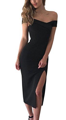 Vestiti Donna Estivi Eleganti Abito da Sera Spacco Young Fashion Slinky V Scollo Lunga Manica Corta Donne Cerimonia Eleganteni Vestito