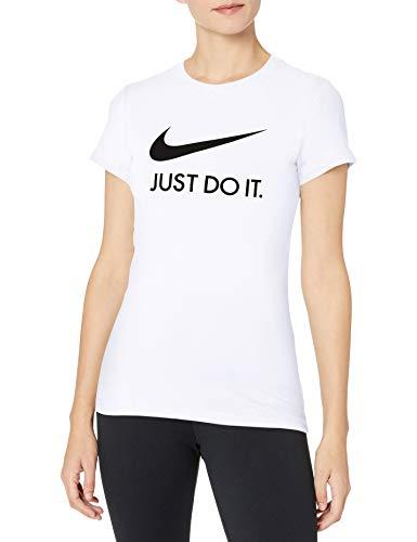 Nike Damen T-Shirt Damen Sportswear Tee Just-do-it Slim, White/Black, XS, CI1383-100