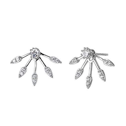 Oído Accesorios Venta al por mayor Europa y los Estados Unidos 925 plata creativa hoja de arce pendientes de las mujeres de diamante completo pendientes de plata