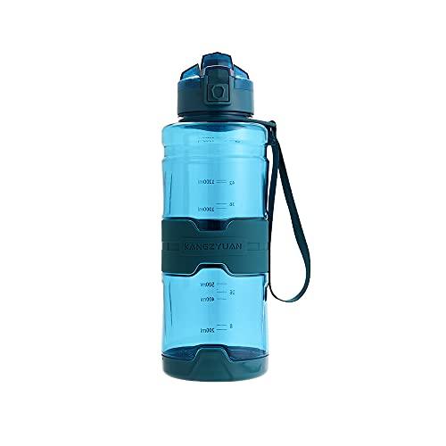 Wenxu Botella de agua de 1 litro con marcas de tiempo, taza de espacio para botella de agua deportiva de gran capacidad, taza deportiva TRITAN segura a prueba de fugas