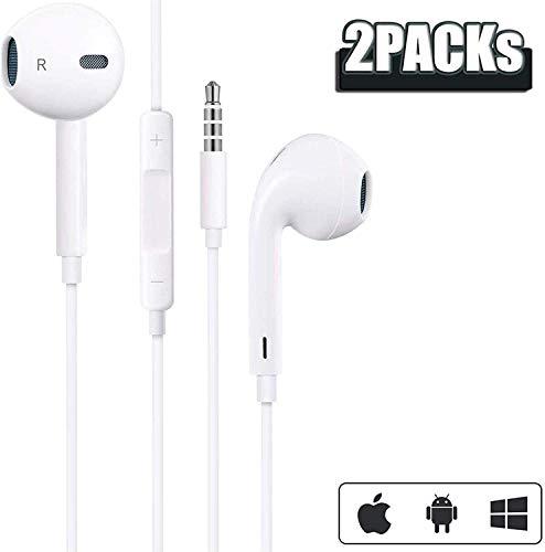 【2 Pack】In Ear Kopfhörer für iPhone 6S 3,5 mm Kopfhörer mit eingebautem Mikrofon und Lautstärkeregler Stereo Bass Ohrhörer mit 3,5mm Klinkenstecker Kopfhörer für iPhone SE/5/6, iPad,MP3/MP4 Android