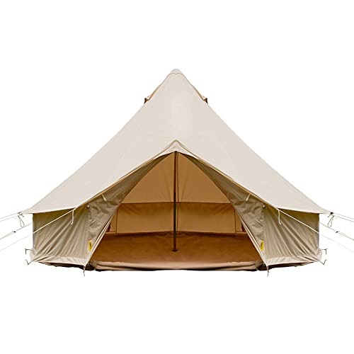 Happybuy Yurt Tent 19.7ft /6m Cotton Canvas Tent with Wall Stove Jacket Glamping Tent Waterproof Bell Tent for Family Camping Outdoor Hunting in 4 Seasons