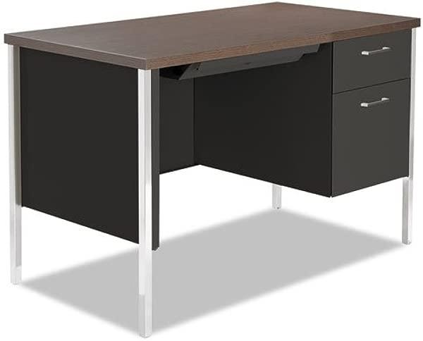 Alera SD4524BW Single Pedestal Steel Desk Metal Desk 45 1 4w X 24d X 29 1 2h Walnut Black