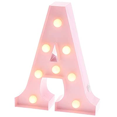 """Barnyard Designs Metal Marquee Letter A Light Up Wall Initial Nursery Letter, Home and Event Decoration 9"""" (Baby Pink)"""