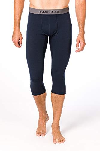 super.natural Sous-vêtement Technique Homme, Longueur 3/4, Laine mérinos, M BASE 3/4 TIGHT 175, Taille: L, Couleur: Bleu foncé