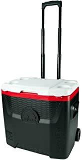 Igloo 28-Quart Red/Black Quantum Wheeled Cooler with Locking, Telescoping Handle with Gear Hangers, Durable Wheels, Four Cup Holders, and Lockable Lid or Tie-down loops