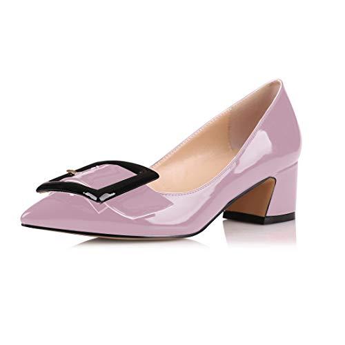 elashe Damen Mitte Blockabsatz Knöchelriemen Schnalle Elegant Pumps Sandalen Größe Lavendel EU39