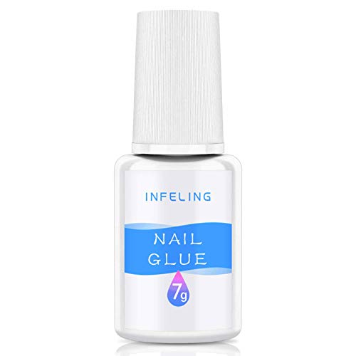 Nail Glue for Acrylic Nails Long Lasting - Acrylic Nail Glue for False Nails, Super Strong Brush on Nail Glue, INFELING Professional Nail Glue for Broken Nail Press on Nails, 0.25oz
