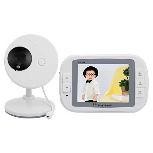 Jazar Baby Monitor, Video Baby Monitor Audio De 2 Vías Reproducción De Música Hipnótica Cifrado De Datos Visión Nocturna De 5M para Bebés, Mascotas para Niñeras Mayores(Estándar Europeo (100-240 V))