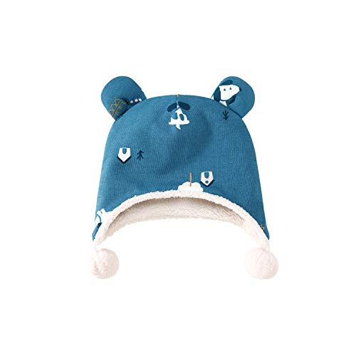 pureborn Newborn Unisex Baby Cartoon Christmas Fleece Pompom Beanie Cap Hat Blue 0-3 Months