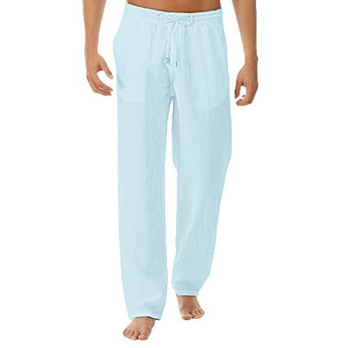 Pantalones de Hombre Lino Trousers Moda Color Sólido Harem Men Pants Rectos Baggy Los Pantalones Deportivos Casual Sportwear Verano Sweatpant Yoga Pants MMUJERY