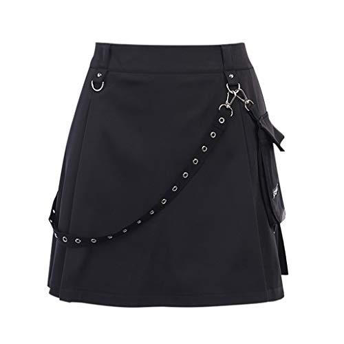 XJJZS Falda Negra de Cintura Alta Negra, Patchwork Femenina Mini Falda, Ropa de Calle Femenina (Size : Medium)