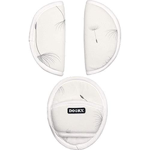 Dooky Universal Pads Dandelion Protectores de cinturón de seguridad para portabebés y silla de coche (para arneses de 3 y 5 puntos, grupo de edad 0+, para la mayoría de las marcas), Blanco, 126730