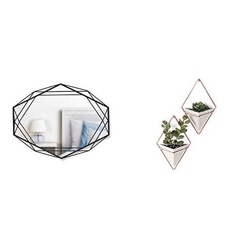 Umbra Prisma Wandspiegel für horizontale oder vertikale Anbringung, Metall, Schwarz & Trigg Wandvase & Geometrische Deko – Übertopf Für Zimmerpflanzen, Sukkulenten, Luftpflanzen, Kakteen