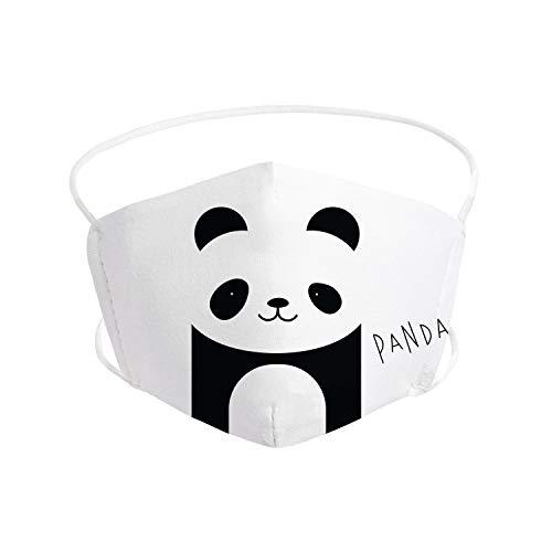 Pekebaby Mascarilla Infantil de tela lavable reutilizable 2 capas + bolsillo con 1 filtro incluido, diseño 163 PANDA, doble ajuste elástico