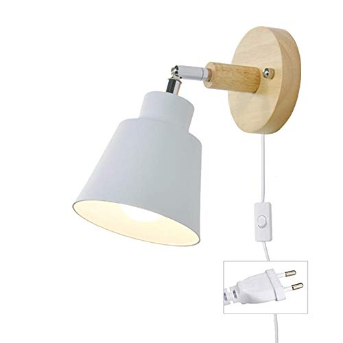 MBWLKJ Lámpara de pared con cable para enchufe, color blanco, E27, de madera, con interruptor, moderna lámpara de lectura, lámpara de pared, foco interior con interruptor, para salón o dormitorio