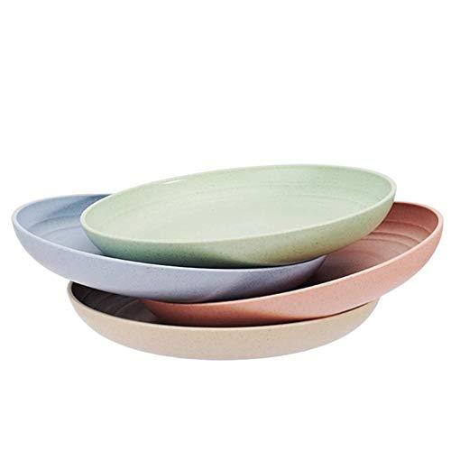 4-Pack Gesunde Leichte Weizenstroh Plates Unbreakable BPA frei Abendessen Teller Spülmaschine und Mikrowelle Safe, Umweltfreundlich Abbaubare Geschirr für Kinder, Erwachsene 15CM