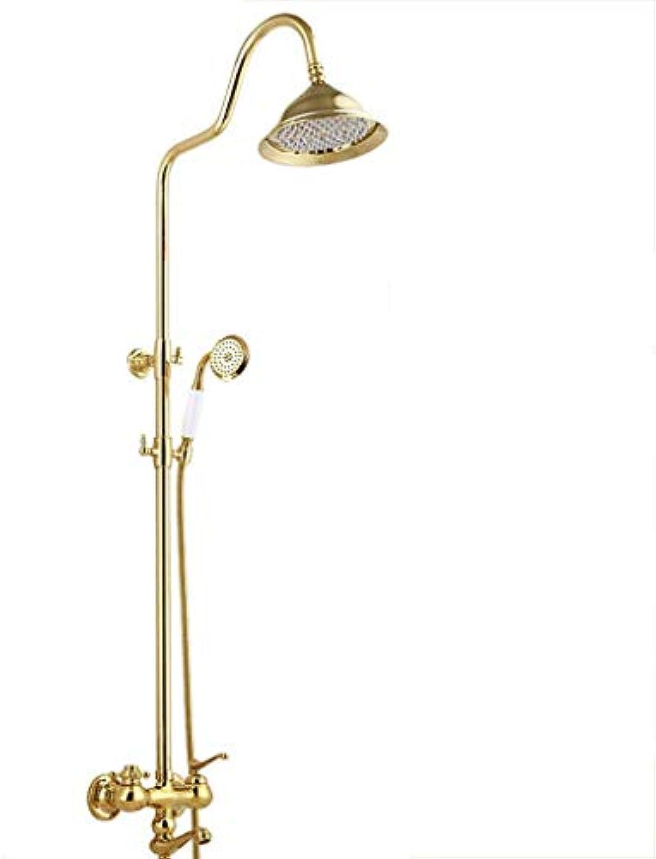 Badezimmer-Brausebatterie-Set, Brausebatterie, europisches Retro, Gold, Kupfer, heie und kalte Dusche, Wandhalterung, Sanitrartikel