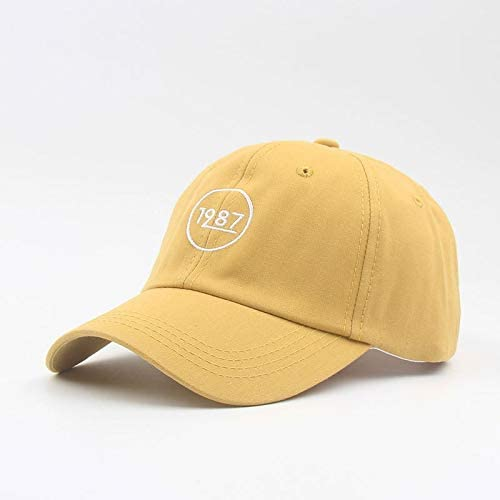 H/A Spring and Summer 1987 Fashion Sports Digital Embroidery Baseball Cap Influx of Korean Boys and Girls Sun Cap PINGP (Color : Yellow, Size : Adjustable)