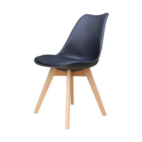 Zons Alba Stuhl, Polypropylen, Schwarz, Füße aus Holz, skandinavischer Stil, 4 Stück