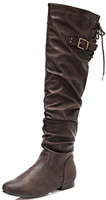 DREAM PAIRS COLBY Women's Fashion Casual Over The Knee Pull On Slouchy High Boots (WIDE CALF AVAILABLE)