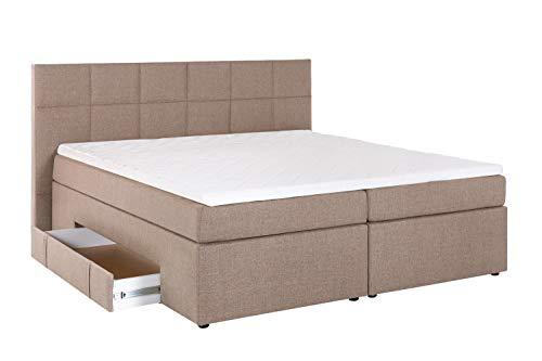 Furniture for Friends Möbelfreude® Boxspringbett Andybur mit Bettkasten Beige/grau 180x200 cm H2/H3 inkl. Visco-Topper, 7-Zonen Taschenfederkern-Matratze