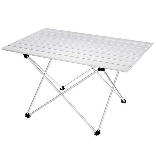 LCM Senderismo de Aluminio Escalada Picnic Mesas Plegables Mesa de Camping al Aire Libre Muebles de Escritorio Plegables portátil Cama de computadora (Color : Silver)