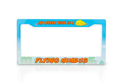JUST FUNKY Dragon Ball Z License Plate Frame | My Other Ride is A Flying Nimbus Cloud | Unique Dragon Ball Z Collectible License Plate Holder | Sized to Fit Standard Vehicles