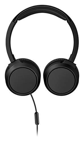 Philips On Ear Kopfhörer H4105BK/00 mit Mikrofon (Inline-Fernbedienung, Zusammenklappbar, Abgewinkelter Anschluss, Gepolsterter Bügel, Geräuschisolierung) Schwarz - 2020/2021 Modell
