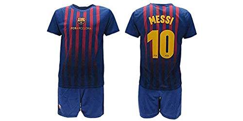 Completo Ufficiale Messi Barcelona Home 2018 2019 in Blister Maglia + Pantaloncini Barcellona 10 Bimbo Bambino (4 Anni)