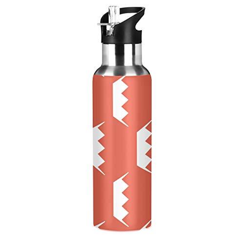 Bahrain Flag Sport Botella de agua de acero inoxidable 304, botella de agua aislada al vacío con pajita (600 ml)