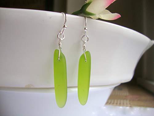 Green Sea Glass Dagger Silver Dangle Earrings