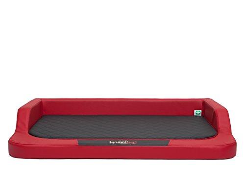 HobbyDog hondenbed Medico LUX maat XXL - 120 x 80 cm rood - zwart met orthopedische viscoat bed rustplaats slaapbank hondenbed hondenbank kunstleer orthopedisch