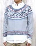 SEVENDAYS=SUNDAY(セブンデイズ=サンデイ)セーター ジャガード ブラッシュ ロングスリーブ プルオーバー L ライトグレー
