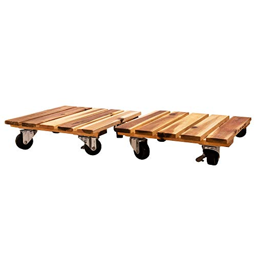 Villa Acacia Wood Plant Caddy 2 Pack Set with Commercial Grade Wheels 11 x 11 Inch Dolly
