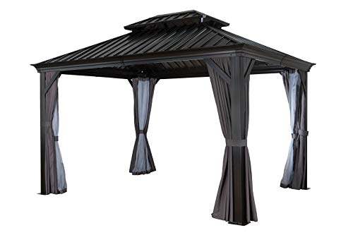 OUTFLEXX Hardtop Pavillon, braun, Aluminium, 298x363cm, inkl. Seitenteile und Insektennetz