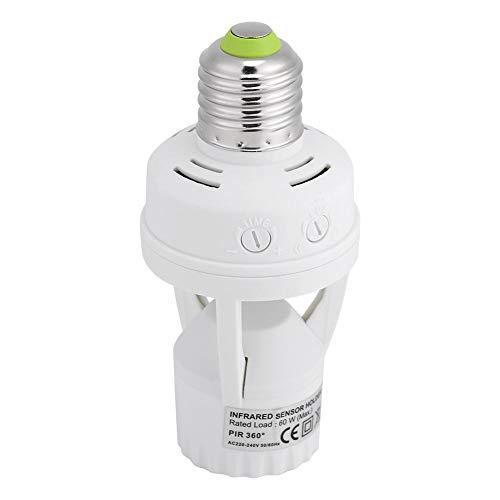 人感センサースイッチ LED 人感センサー 自動赤外線 センサー E27ソケット 検出 スイッチ 明暗センサー 自動 赤外線 モーションセンサー 天井 廊下 玄関地 下 室適用 LED電球 白熱灯 省エネランプ 電飾 360度プラグ AC100-240V