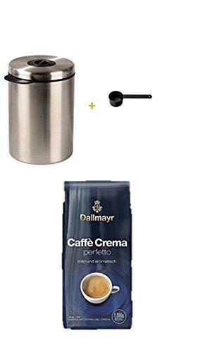 Xavax Kaffeedose für 1kg Kaffeebohnen, Tee, Kakao, mit Aromaverschluss, Edelstahldose, silber + Dallmayr Kaffee Caffè Crema Perfetto Kaffeebohnen, 1er Pack (1x 1 kg)
