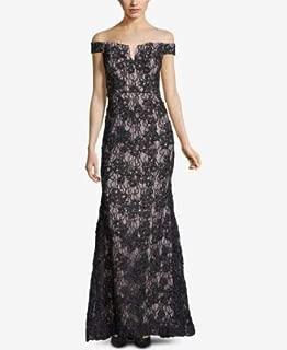 XSCAPE Womens Black Lace Gown Off Shoulder Full-Length Evening Dress US Size: 10