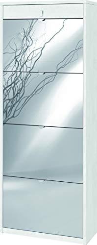 Zapatero con espejo natural 4 puertas abatibles y 1 cajón H164 L63 P29 cm Color Blanco óxido SK568SPK