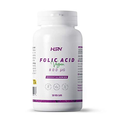 Ácido Fólico (Vitamina B9) de HSN | 800 mcg | Suministro para 4 Meses | Vitaminas y minerales Prenatales | Esencial en los Embarazos | Vegano, Sin Gluten, Sin Lactosa, 120 Cápsulas Vegetales