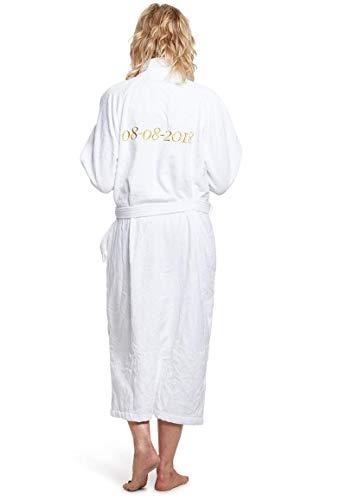 Bademantel mit Namen Bestickt - Weiß - 100% Baumwolle - Herren und Damen - mit Stickerei (XXL)