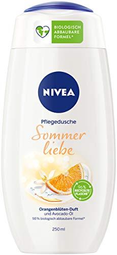 NIVEA Sommerliebe Pflegedusche (250 ml), sanftes Duschgel mit Avocado-Öl, Dusche mit erfrischendem, fruchtigem Orangenblütenduft und zartem Schaum