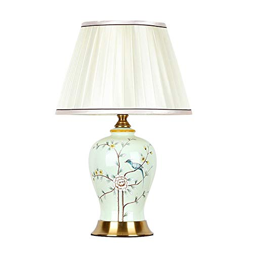 Lámpara De Mesa De Cerámica Europea Lámpara LED Tradicional, Transición para Dormitorio, Sala De Estar, Oficina, Dormitorio Universitario, Mesa De Centro, Librería,Verde