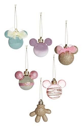 Sconosciuto Licensed Disney Mickey-Minnie Palline Di Natale Confezione Di 6/4 Natale Decorazioni Da Appendere Con Scatola - Multicolore (Confezione Di 6), Misura Unica