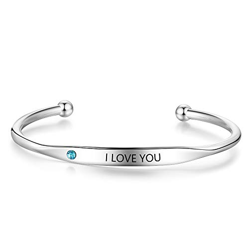 DaMei Women Personalised Name Bracelets Customised Engraved Name Bangle with Simulated Birthstone Stainless Steel Wristband Bracelets Jewellry Birthday Anniversary Gift for Mother BFF Sisters