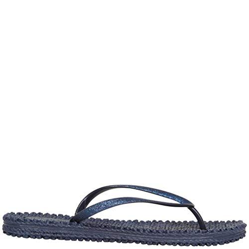 Ilse Jacobsen Damen Sandalen flach | Flip Flops mit Riemen | Schuhe mit Sohle aus Bast | Glitter Look | CHEERFUL01 Blau 38 EU