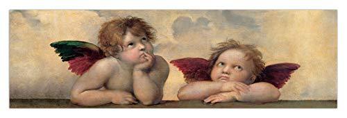 LuxHomeDecor - Cuadro de rafaello con ángeles de la Virgen Sistina, 100 x 30 cm, impresión sobre lienzo con marco de madera, decoración moderna
